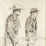 American Art - Two Cheyenne Friends - Vintage Drawing