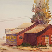 American Art - Red Barn: Vintage Watercolor Painting