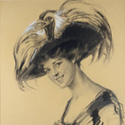 American Art - R Ford Harper COLLECTION inc. Charcoal Portrait