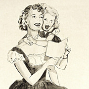 American Art - Singing Along With Mother: Vintage Original Illustration Art