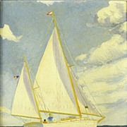 American Art – Sailing: Vintage oil on canvas board