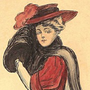 American Art - Gibson Girl - Vintage Ink and Watercolor Painting.