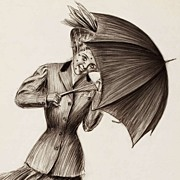 American Art - Umbrella Girl: Charles Sheldon Vintage Original Illustration Art