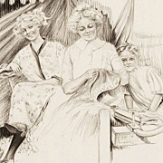 American Art - Charles SHELDON: Performers Outside a Tent; Original Illustration Art