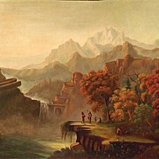American Art - Antique Mountain Landscape with Indians