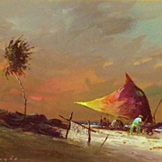 Vintage Watercolor -  Manzke: Jangada, Pernambuco