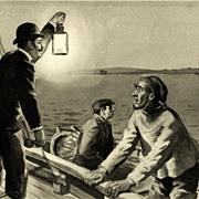 American Art - Pulp Fiction Art Work c. 1930's: Men in a Boat
