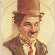 American Art - Charlie Chaplin - Vintage Oil on Canvas Portrait