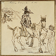 American Art - Robert Henri: The Bull Ring – 1908 Pen and Ink Drawing