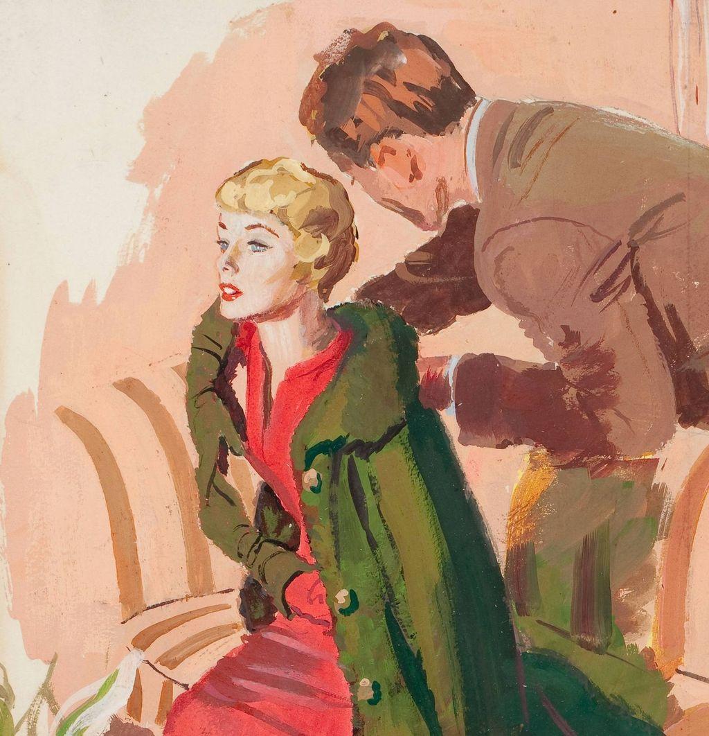 American Art - Michael Silver: Removing Her Coat - Vintage Illustration Art