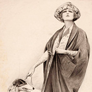 American Art - Sheldon: Cape Costume - 1921 Original Fashion Illustration Art