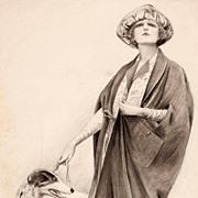 American Art - Sheldon: Cape Costume - 1921 Original Fashion Illustration Art