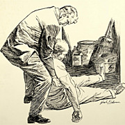 """American Art - Hal Stone: """"The Floor Was Cold"""", 1958 story illustration"""