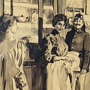 Wilhelm Thielmann: Interrupted - Antique Original Illustration Watercolor