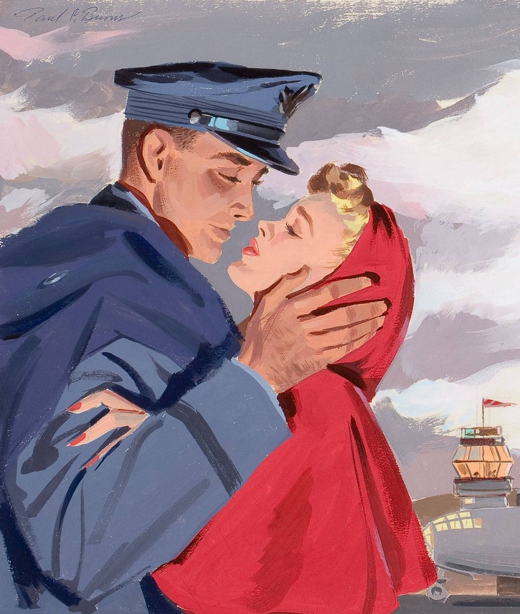 "American Art - Paul Burns: ""Airport Farewell"", Original Illustration Art"
