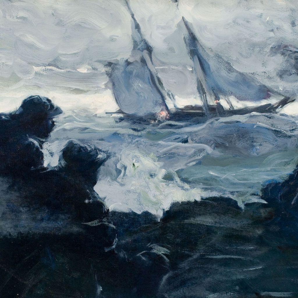 American Art - Horace Gilmore: Danger at Sea - Vintage Oil Painting