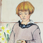 American Art - Young Girl Waiting – Vintage Original Illustration Art