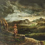 American Art – Antique American Indian Night Scene Oil on Canvas