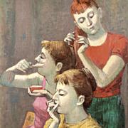 Tully Filmus: Backstage, 1959 Oil Painting