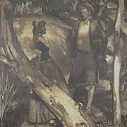 "American Art - Harold Von Schmidt, ""Once We Were Alone"", Original 1941 Illustration Oil on Canvas"