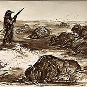 John Groth: 'The Promise Kept', large 1975 ink and wash illustration