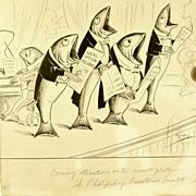 Canadian Art - Arthur George Racey: Vintage Original Cartoon Ink on Paperboard