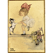 British Art - Antique Watercolor of Child and Dog Dancing