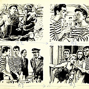 "Illustration Art - ""Lamartine"" French Ink on Paper Cartoon Original Art"