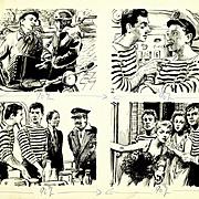 """French Illustration Art - André Hofer: """"Lamartine"""", Ink on Paper"""