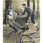 Illustration Art – Antique Watercolor: Bicycle Accident