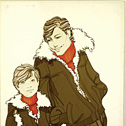 Father & Son - Large Vintage French Fashion Illustration Original Drawing