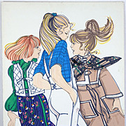 Teens - Large Vintage French Fashion Illustration Original Drawing