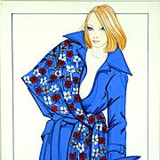 Fleur Bleue - Large Vintage French Fashion Illustration Original Drawing