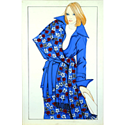 Fleur Bleue - Large Vintage French Fashion Illustration Original Drawing