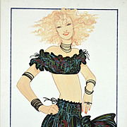Gitane - Large Vintage French Fashion Illustration Original Drawing