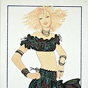 Gitane - Large Vintage French Fashion Illustration Original Drawing