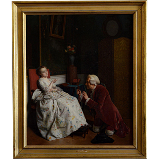 Courtship -- Antique French Oil on Board by Roehn (1799-1864)