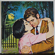 A Kiss in the Moonlight - Vintage Illustration Art Original Gouache
