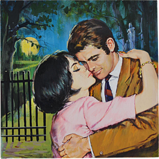 A Kiss in the Moonlight - Vintage Illustration Art Original Gouache