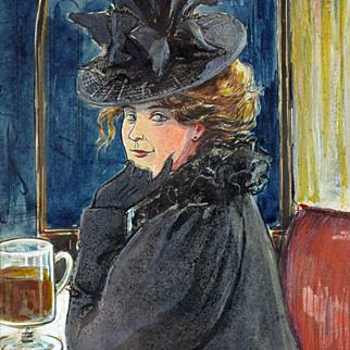 Luc Leguey: An Invitation -- Framed Antique Watercolor