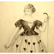 American Art - Sheldon: Fashion Model holding a string - 1921 Illustration Art Original Drawing