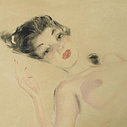 French School circa 1950s, Large Signed Vintage Reclining Nude