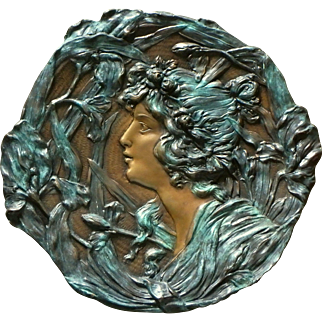 Alphonse Mucha (after) Large two-tone Bronze Card Tray