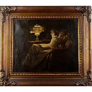 American Artist - Young Lady by the Lamp - Antique Oil on Canvas - Red Tag Sale Item