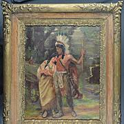 American Art - W.H. Cox 1936 - Native American Couple, Oil on Canvas