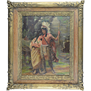 American Art - W.H. Cox 1936 - Native American Couple, Oil on Canvas