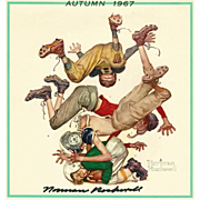 American Art: Norman Rockwell - Signed 1967 Autumn Calendar Page: Football