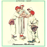 American Art: Norman Rockwell - Signed 1967 Spring Calendar Page - Baseball