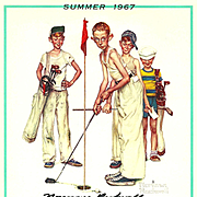 American Art: Norman Rockwell - Hand-Signed 1967 Summer Calendar Page: Golf