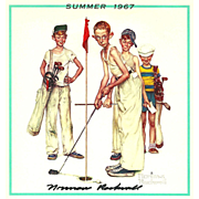 American Art: Norman Rockwell - Hand-Signed 1967 Summer Calendar Page: Golf